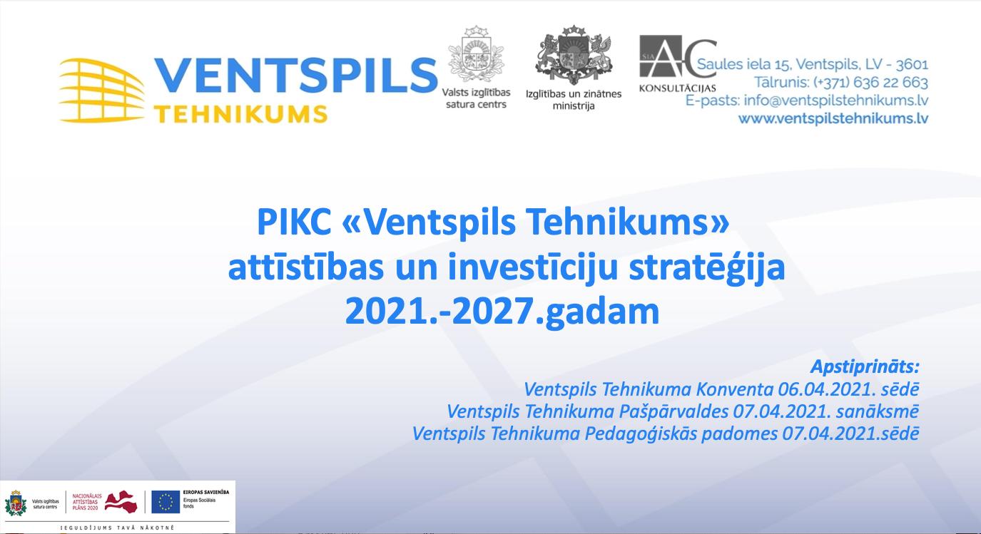 Ventspils Tehnikuma vadība prezentē Attīstības un investīciju stratēģiju 2021.-2027.gadam